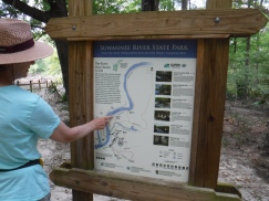 Suwannee State Park, Deb playing trail guide