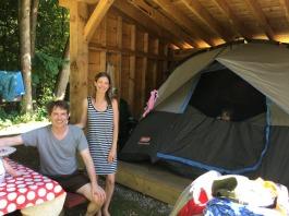 Burlington, VT - Tent set up in a lean-to